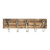 Benzara Modern Wood Metal Wall Hook With Natural Texture
