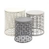 Benzara The Toned Down Set Of 3 Metal Wood Accent Table