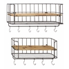 Benzara Stylish Set Of Two Metal Wood Wall Shelf Hook