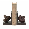 Benzara Rusted Gear Themed Book End Set