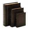 "Benzara Library Wood Leather Book Set/3 13"", 10"", 8""H"