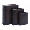 Benzara Smooth Leather Book Box Set With Floral Decoration