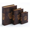 Benzara Wooden Book Box With Rich Design And Natural Texture (Set Of 3)