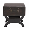 Benzara The Sleek Wood Leather End Table