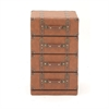 Alluring Wood Leather 4 Drawer Cabinet, Brown
