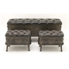 Gorgeous Metal Leather Ottoman, Antique bronze, Set Of 3