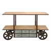 "Reclaim Metal Wood Storage Cart 63""W, 38""H"