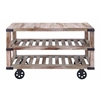 Benzara Rustic Console Cart With Portable Wheels
