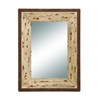 Benzara Glass Style Mirror With Rustic Wood Frame