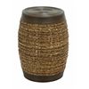 Benzara Bamboo Weave Stool In Unique Barrel Shape