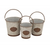 Victoria Unique Patterned Metal Pail Set Of 3
