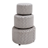 Benzara The Impressive Set Of 3 Wood Fabric Ottoman