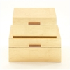 Lovely Wood Gold Box, Gold, Set Of 2