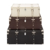 Chic Wood Leather Trunks, White, Brown & Black, Set Of 3