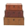 Stunning Wood Leather Trunks, Orange, Red, Yellow, Set Of 3