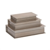Attractive Wood Silver Book Box, Beige, Set Of 3