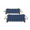 Benzara Blue Wood Rope Tray Set Of 2