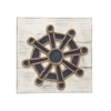 Ship Wheel Wood Rope Wall Decor, Navy Blue and White