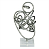 Trendy Metal Acrylic Sculpture, Grey & White