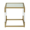 Functional Metal Glass Acrylic End Table, Gold & White