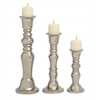 Benzara Stylish Ceramic Silver Candle Holder Set Of 3