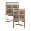 Benzara The Beautiful Set Of 2 Wood Metal Bird Cage