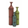 Benzara Fascinating Styled Metal Bottle Vase Set Of 3