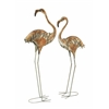 Beautiful Set Of Two Metal Flamingos
