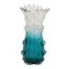 Benzara Wonderful Unique Styled Glass Clear Blue Vase