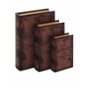 Benzara Set Of 3 Faded-Brown Leather Book Box