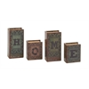 Benzara Home Written Wood Faux Leather Book Box Set Of 4