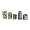 Benzara Smile Written Wood Faux Leather Book Box Set Of 5
