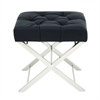 Chic Stainless Steel Tufted Leather Stool, Silver, Black