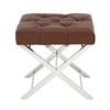 Classic Stainless Steel Tufted Leather Stool, Chrome Silver
