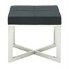 Amazing Stainless Steel Grey Leather Stool, Grey