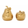 "Exceptional Ceramic Gold Pear Apple Set Of 2 7"", 9""H"