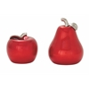 "Splendid Ceramic Red Pear Apple Set Of 2 7"", 9""H"