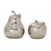 "Exceptional Ceramic Silver Pear Apple Set Of 2 7"", 9""H"