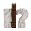 "Benzara Striking Ceramic Marble Finish Bookend Pair 3""W, 8""H"
