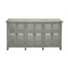 Benzara Magnificent Styled Wood Glass Console Cabinet