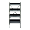 Functional Metal Wood Shelf, Black & Silver