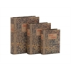 Benzara Fascinating Styled Wood Book Box Set Of 3