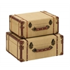 Benzara Old Look Burlap Travel Suitcase Set
