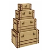 Benzara Old Look Burlap Travel Steamer Trunk Set