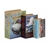 Benzara Alluring Set Of 3 Wood Canvas Book Box