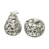 Decorative Ceramic Apple & Pear, Silver, Set Of 2