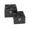 "Benzara Set Of 2 Elegant Floral Themed Wooden Mirror Box 8"", 6""W"
