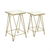 Benzara Attractive Metal Mirror Accent Table Set Of 2