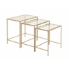 Benzara Classy Metal Glass Nest Table Set Of 3