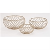 Classy Metal Gold Bowls, Light Gold, Set Of 3